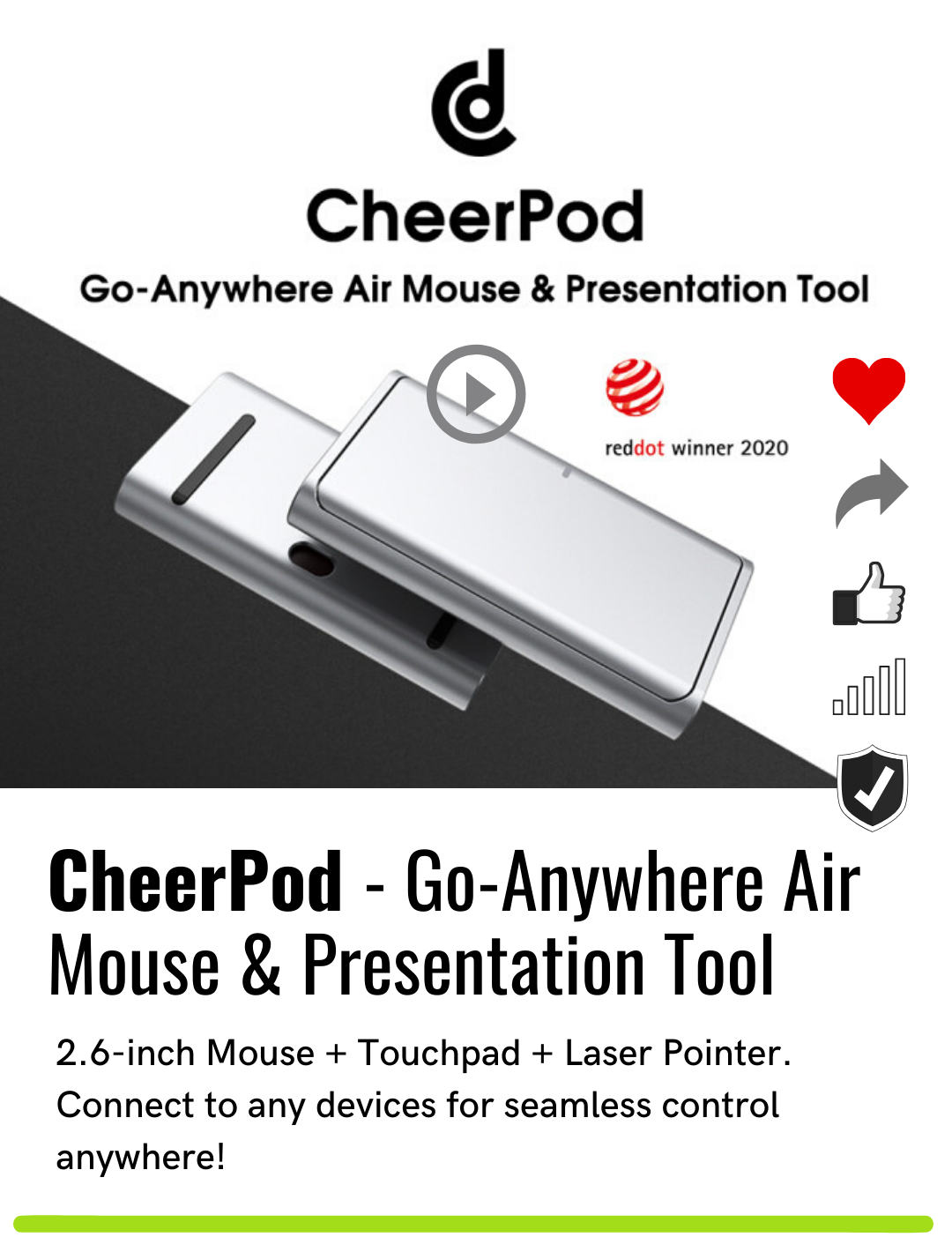 CheerPod - Go-Anywhere Air Mouse & Presentation Tool