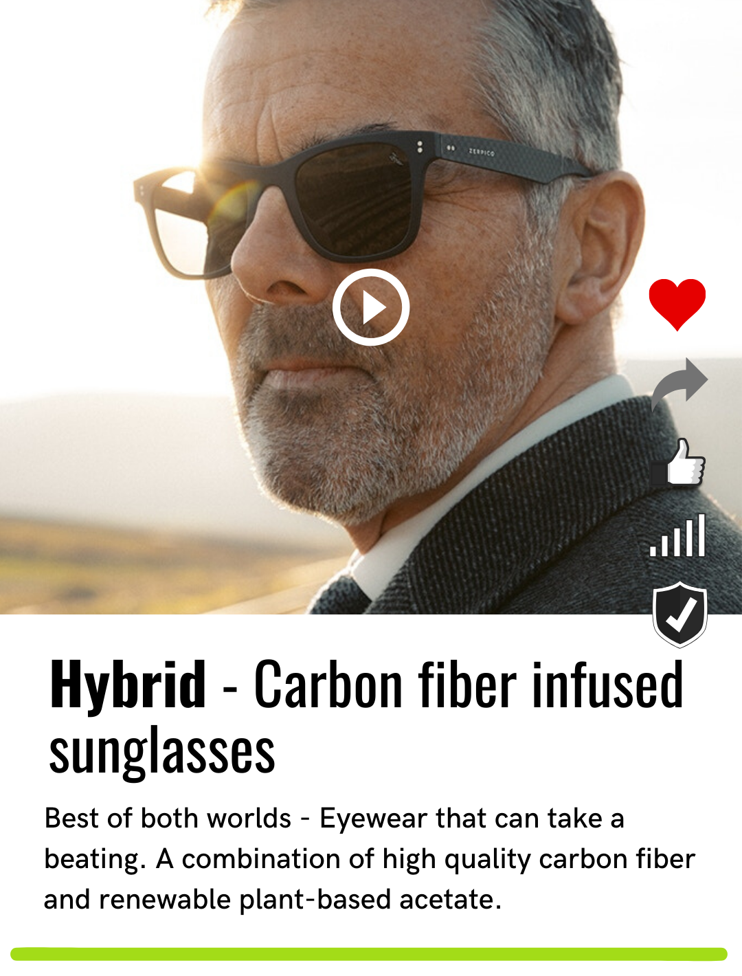 Hybrid - Carbon fiber infused sunglasses