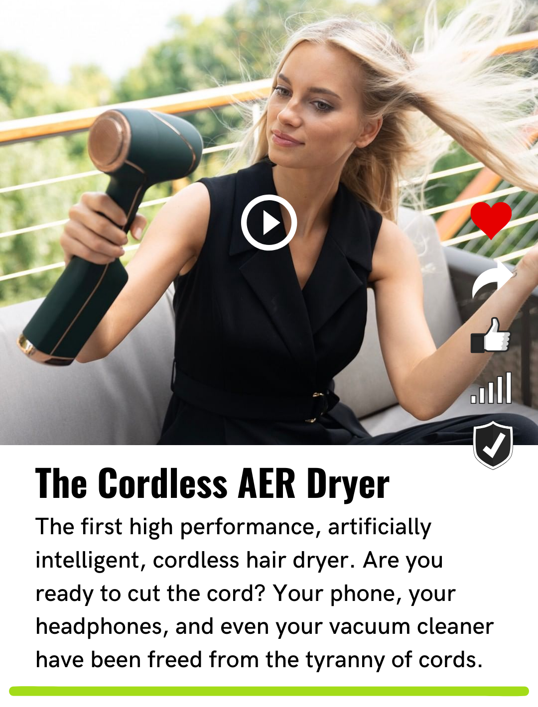 The cordless AER dryer