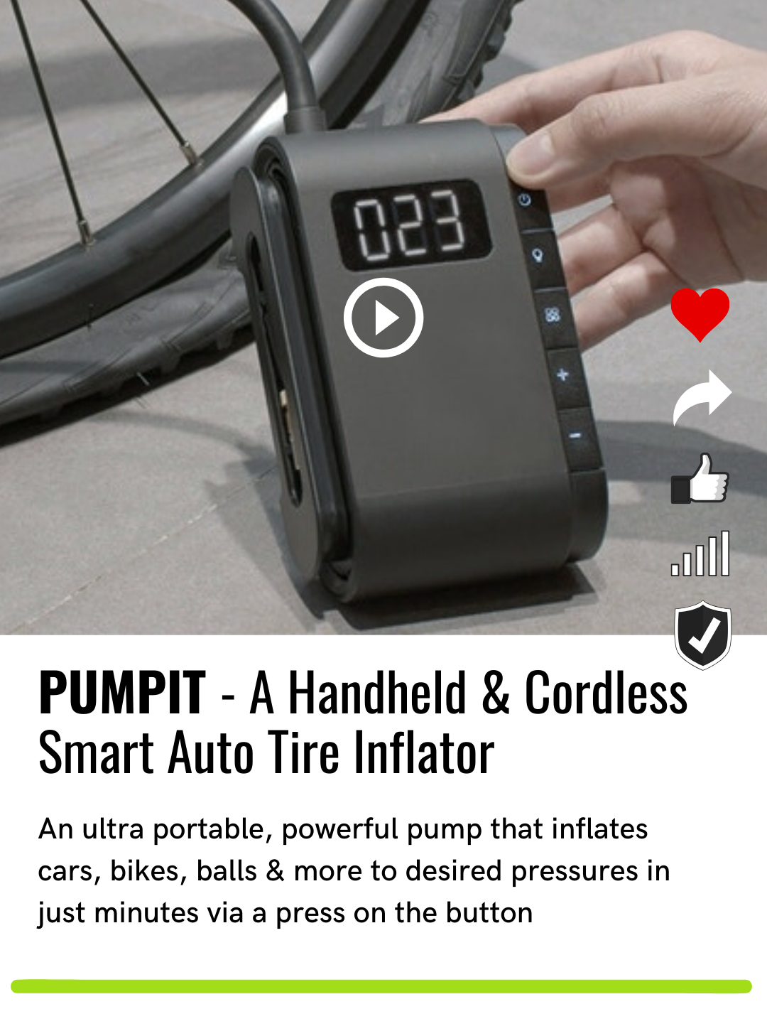 PUMPIT - A Handheld & Cordless Smart Auto Tire Inflator