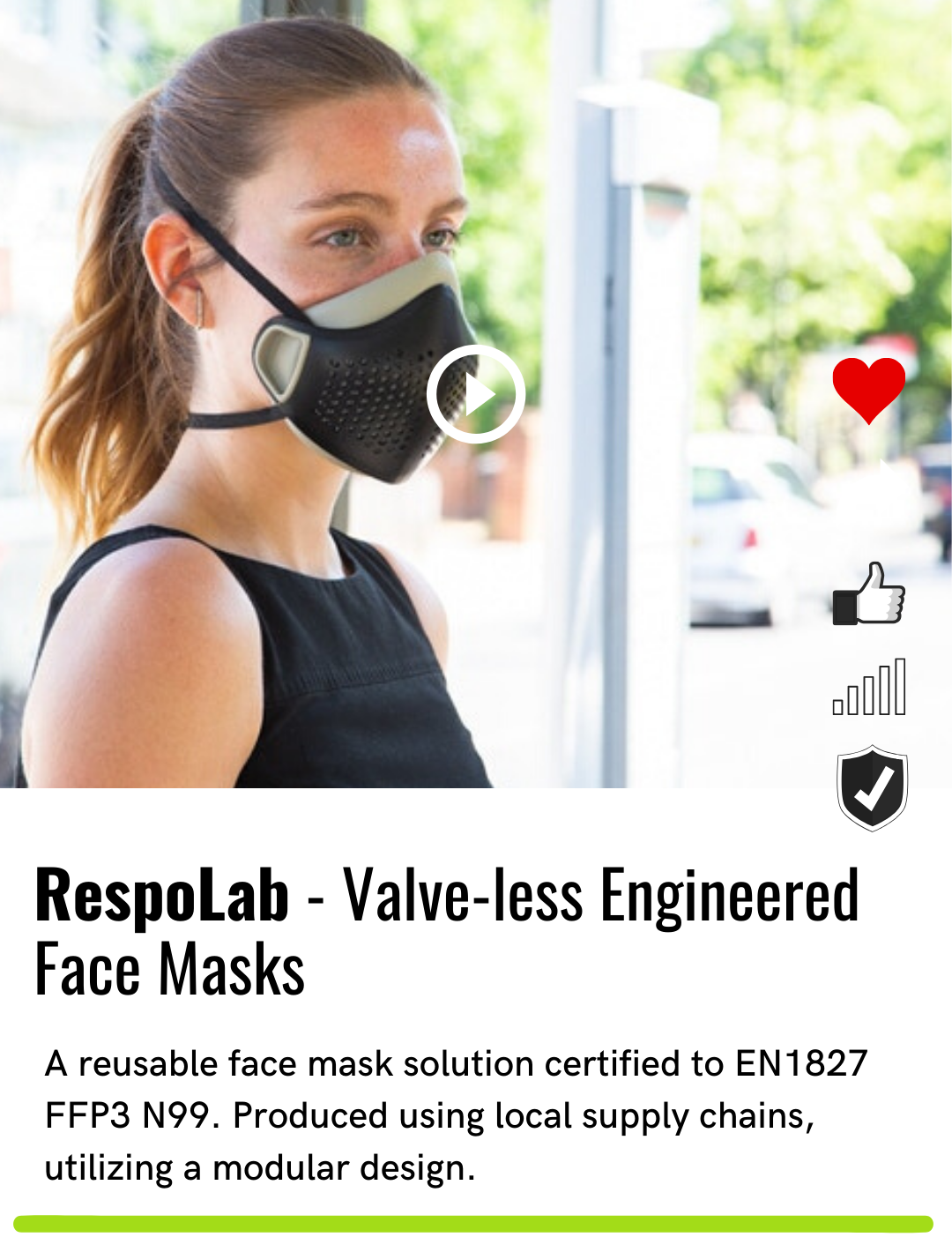 RespoLab - Valve-less Engineered Face Masks