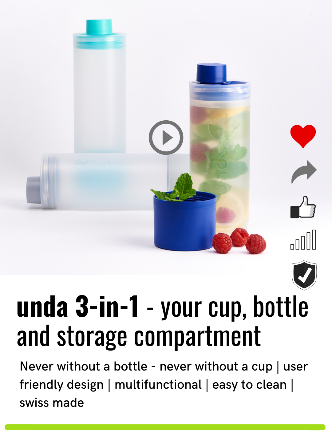 unda: The 3-in-1 bottle, cup and storage compartment