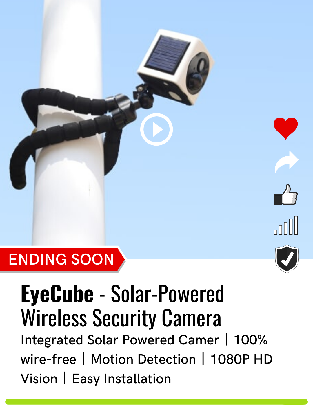 Eyecube solar powered wireless security camera